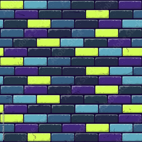 Abstract seamless vector pattern for girls, boys, clothes. Creative background with dots, brick stonewall. Funny wallpaper for textile and fabric. Fashion style. Colorful bright