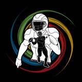 American football player, Sportsman action, sport concept designed on spin wheel background graphic vector. - 211105843