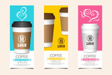 Coffee template for card, coupon, voucher with paper cup elements on color background vector illustration
