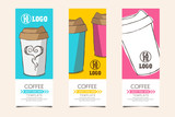 Coffee template for gift card, coupon, voucher and others with paper cup elements doodle drawing on color background vector illustration