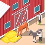 Horse Breeding Isometric Background - 211114050