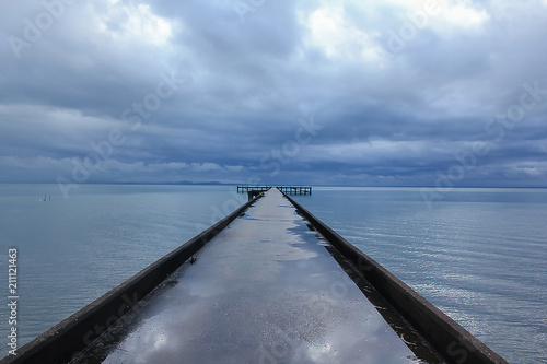 Plexiglas Pier Landscape photography sea after the rain.