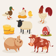 Illustration of a set of farm animals © alex