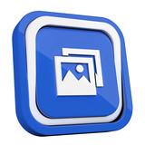 ikona plastikowa 3D niebieski kwadrat pierścień