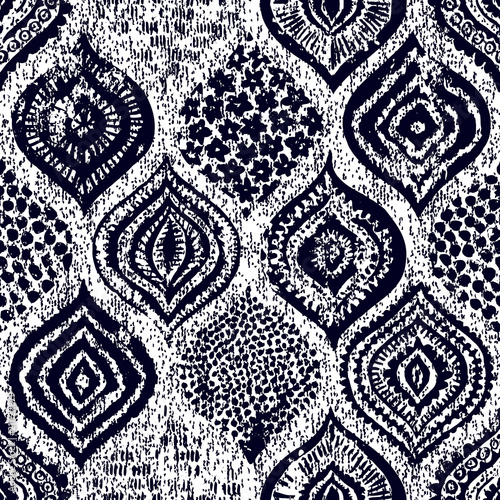 Seamless ornament in oriental style. Grunge texture. Handmade. Vintage print for textiles.