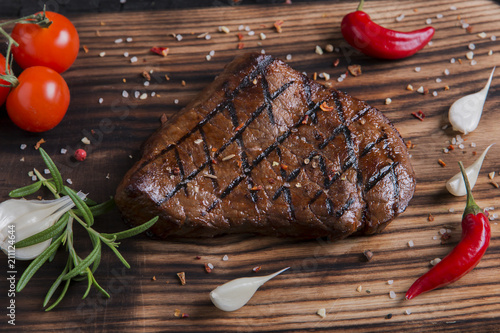 Fotobehang Steakhouse beef grilled steak on board