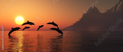 Fototapeta Dolphins are jumping at sunset. Sea landscape at sunset. 3D rendering