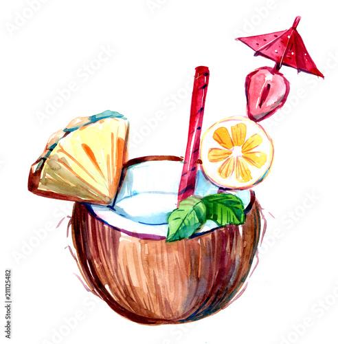 Kokosowy tropikalny cocktai
