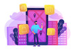 A man near huge LCD screen with city map and gps tags on the screen getting information about the city. Mobile center, smart guide, IoT and smart city concept, violet palette. Vector illustration.
