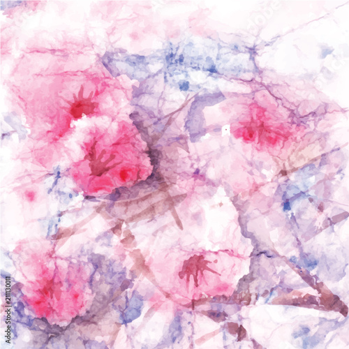 Fototapeta Abstract watercolor background, flowers blossom, abstract watercolor texture