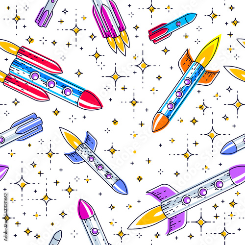 Space seamless background with rockets and stars, undiscovered galaxy cosmic fantastic and interesting textile fabric for children, endless tiling pattern, vector illustration cartoon motif.
