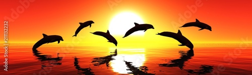 Canvas Baksteen Dolphins are jumping at sunset. Sea landscape at sunset. 3D rendering