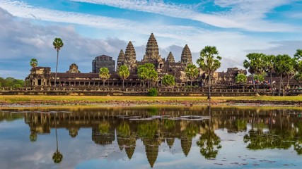 Time lapse of Angkor wat in Siam Reap, Cambodia. © tawatchai1990