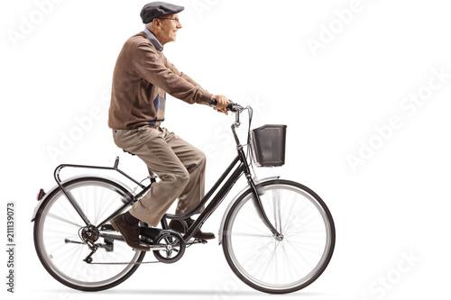 Senior riding a bicycle