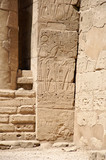 Ancient reliefs on the ruins of the temple of Karnak in Egypt