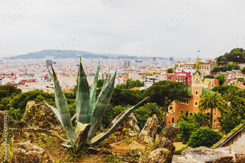 Aluminium Barcelona Panoramic view of the city from Park Guell. Barcelona, Spain