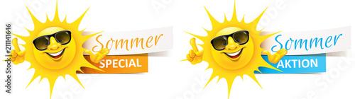 Cartoon Sonne mit Sonnenbrille und Banner - Sommer Aktion, Special Set - 211141646