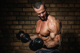 Bodybuilder doing exercises for biceps with a dumbbells - 211151039