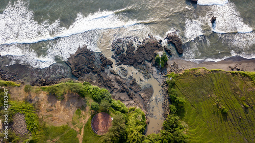 Fotobehang Bali Aerial view of natural balinese coast