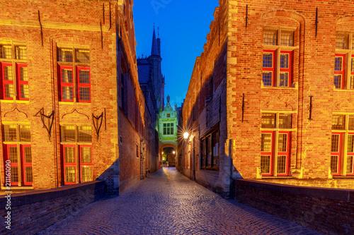 Fototapeta Brugge. Old medieval street.