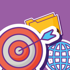 global sphere and target icon over purple background, colorful design. vector illustration