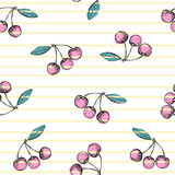 Cherry seamless pattern on striped background. Vector hand drawn illustration. - 211178426