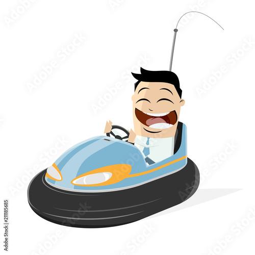 Plexiglas Auto happy businessman in a bumper car