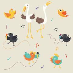 Vector Illustration Of Birds Singing © yusuf