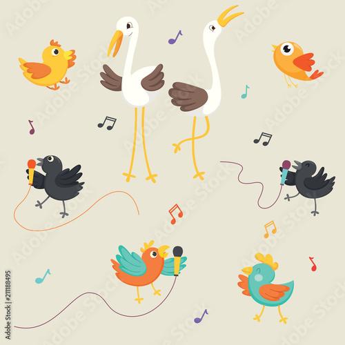 Vector Illustration Of Birds Singing