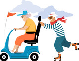 Elderly woman driving a mobility scooter, her male companion roller skating behind her, EPS 8 vector illustration