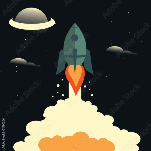 Fototapeta Rocket launch,ship.vector, illustration concept of business product on a market.