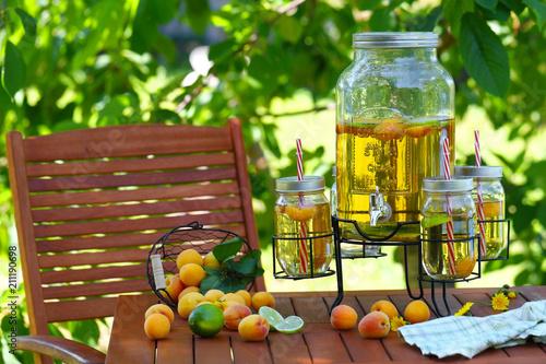 абрикосовый лимонад с лаймом на столе в саду - 211190698