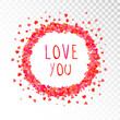 Vector decorative frame with hearts and hand drawn inscription Love you. - 211197058