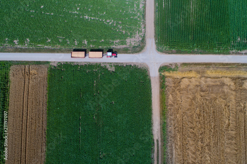 Aluminium Trekker Top view of tractor with trailers on rural road