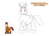 Connect The Dots and Draw Cute Cartoon Horse. Educational Game for Kids. Vector Illustration.