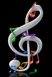 Colorful musical notes - 3d render - 211206879