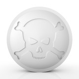 One large white pill with skull and crossbones - 3d render - 211207012