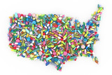 Pills and medication in the shape of the United States of America - 211207077