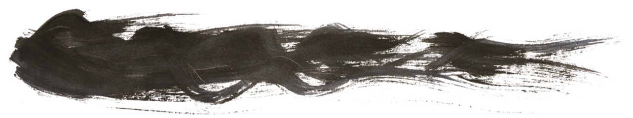 Long hand drawn isolated paintbrush stripe with dirty black color © elen31
