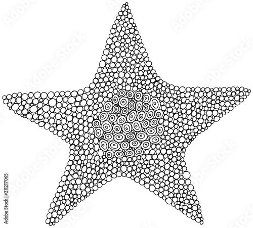 Doodle star coloring page for adults and kids. Circle ornament. Vector illustration