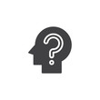 Head with question mark vector icon. filled flat sign for mobile concept and web design. Confusion simple solid icon. Symbol, logo illustration. Pixel perfect vector graphics