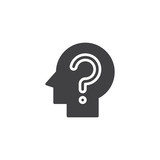 Head with question mark vector icon. filled flat sign for mobile concept and web design. Confusion simple solid icon. Symbol, logo illustration. Pixel perfect vector graphics - 211217455