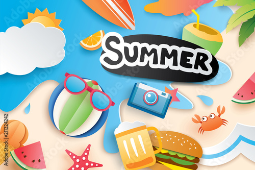 Hello summer with paper cut symbol icon for vacation beach background. Art and craft style. Use for banner, poster, card, cover, stickers, badges, illustration design. - 211224242