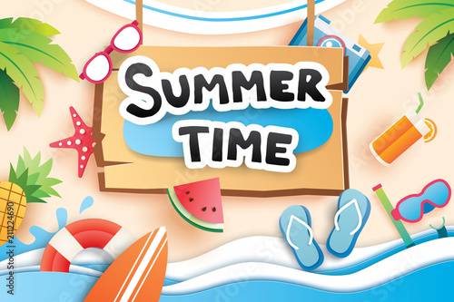 Summer time with paper cut symbol icon for vacation beach background. Art and craft style. Use for banner, poster, card, cover, stickers, badges, illustration design. - 211224690