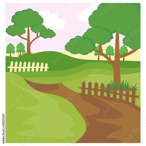Aluminium Boerderij pathway forest jungle panorama scenery landscape background