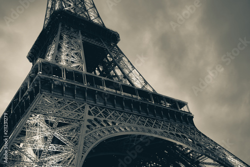 Fragment of Eiffel Tower, vintage toned - 211231279