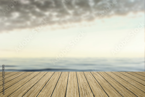 Plexiglas Pier wooden jetty with blurred ocean background