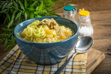 Soup with barley and chicken gizzards. - 211239847