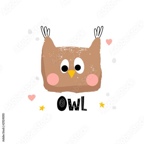 Fotobehang Uilen cartoon Cute owl face illustration