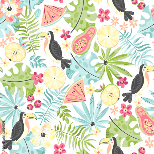 Tapeta Tropical pattern with toucans and plants